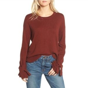 Madewell Tie Cuff Mahogany Pullover Sweater